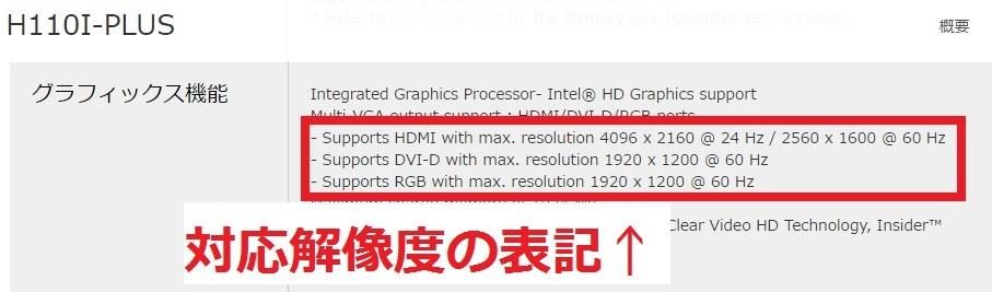 マザーボードのスペック表示の例(ASUS H110I-PLUSの製品ページ)