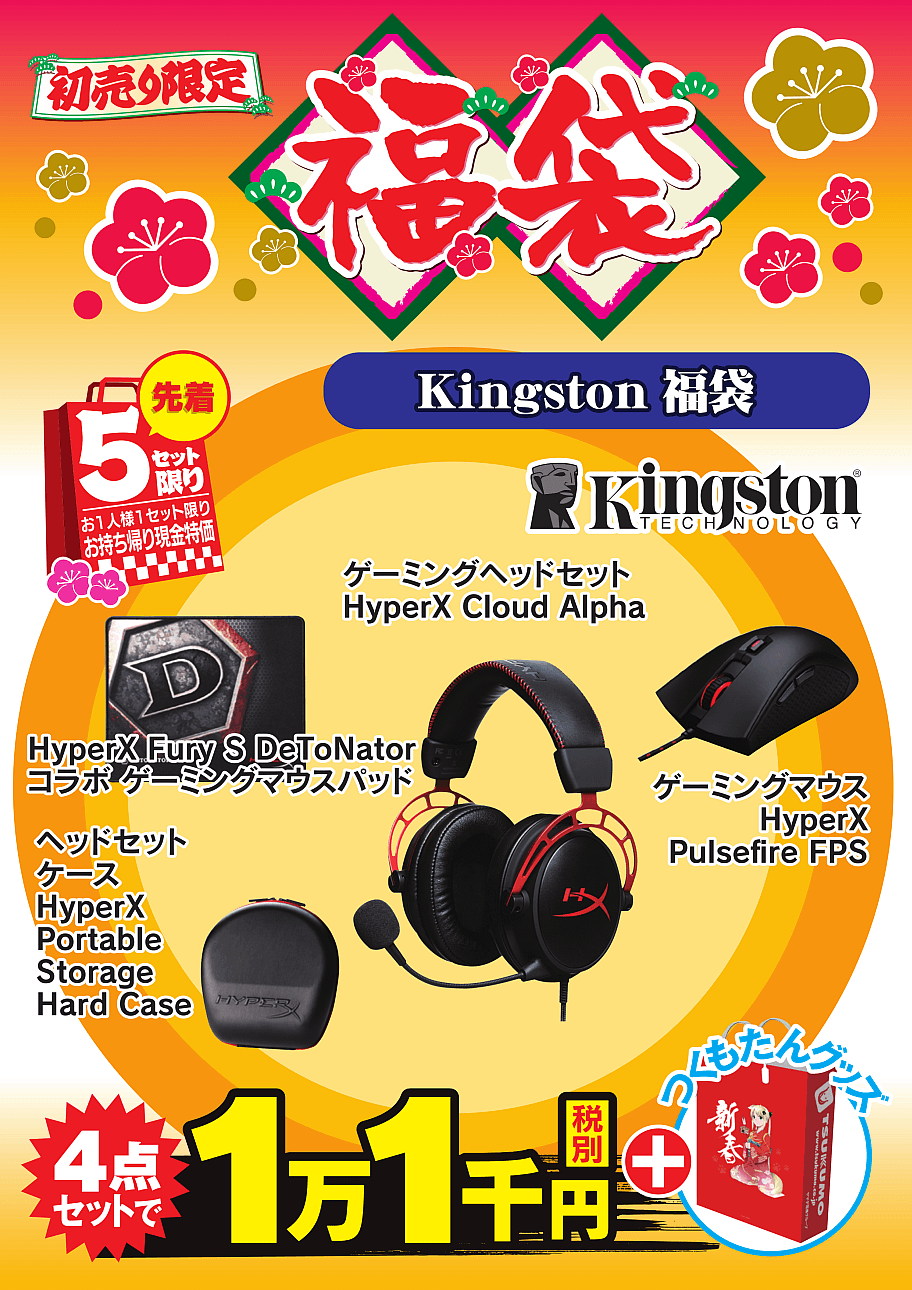 HyperX Cloud AlphaHyperX Pulsefire FPSHyperX Fury S DeToNator コラボ HF-MP2SM-1RHyperX Portable Storage Hard Case 【Kingston 福袋】Kingston製人気のゲーミングデバイスセット!